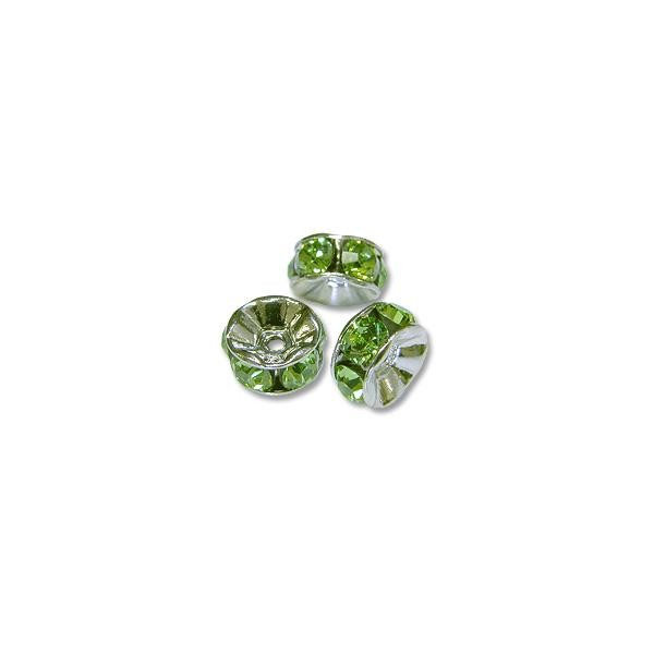 Swarovski Rondelle Bead 6mm Peridot Rhodium Plated (1-Pc)