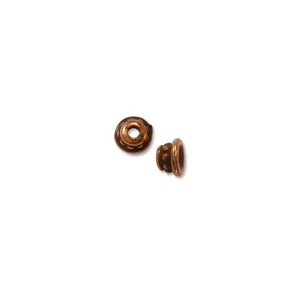 TierraCast Bead Cap - Beaded 3.5mm Pewter Antique Copper Plated (2-Pcs)