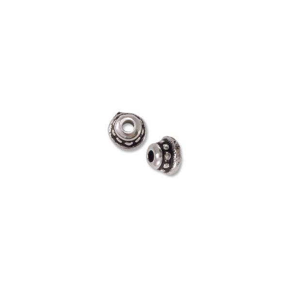 TierraCast Bead Cap - Beaded 4mm Pewter Antique Silver Plated (2-Pcs)