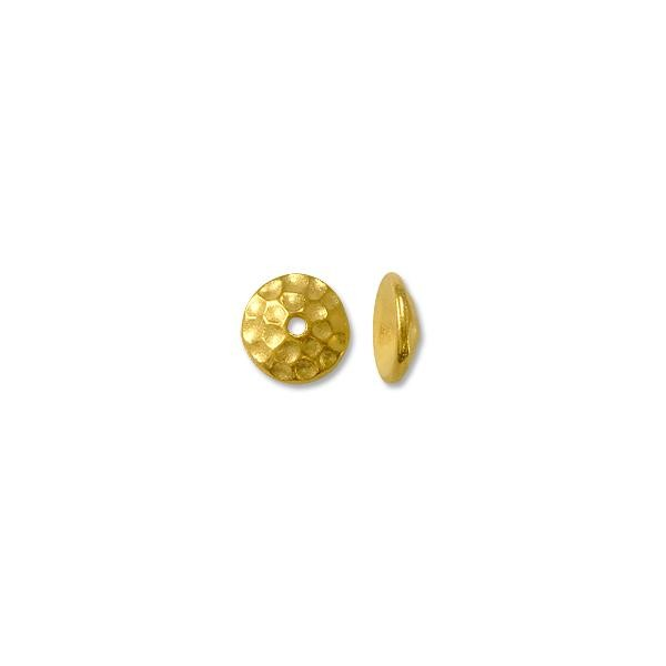 Bead Cap - Hammered 8mm Pewter Gold Plated (1-Pc)