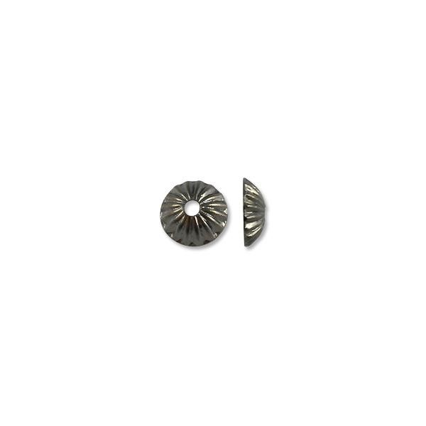 Bead Cap - Corrugated 5mm Base Metal Gun Metal Plated (10-Pcs)