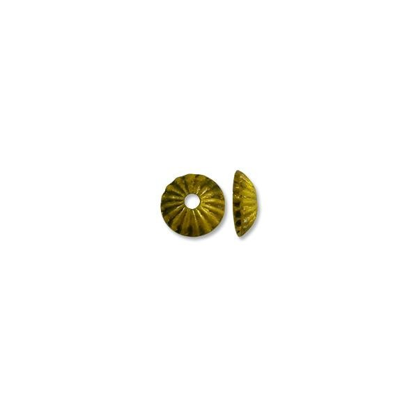 Bead Cap - Corrugated 5mm Base Metal Antique Brass Plated (10-Pcs)