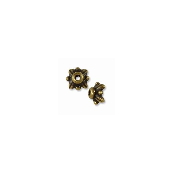 TierraCast Bead Cap - Leaf 5mm Pewter Antique Brass Plated (1-Pc)