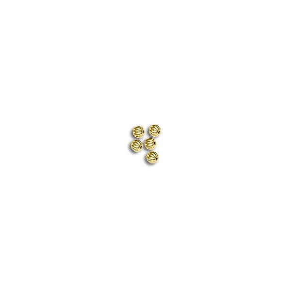 Corrugated Bead 4mm Round Gold Plated (10-Pcs)
