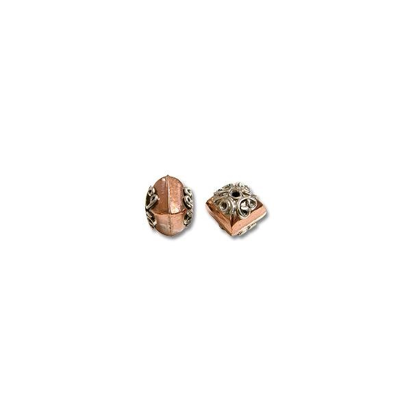 Bead Bali Style 12x12mm Copper and Sterling Silver (1-Pc)