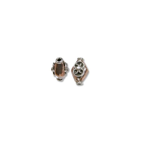 Bead Bali Style 14x9mm Copper and Sterling Silver (1-Pc)