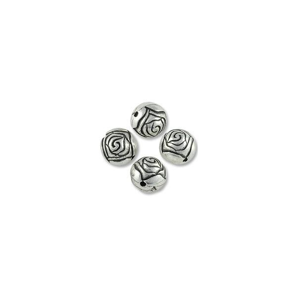 Bead Round Rosebud 14mm Resin Sterling Silver Plated (1-Pc)