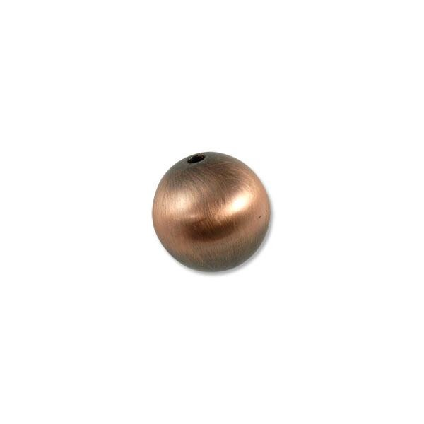22mm Brushed Metal Satin Copper Plated Round Bead (1-Pc)