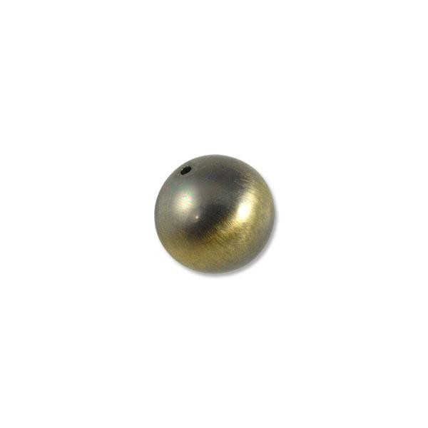 22mm Brushed Metal Satin Brass Plated Round Bead (1-Pc)