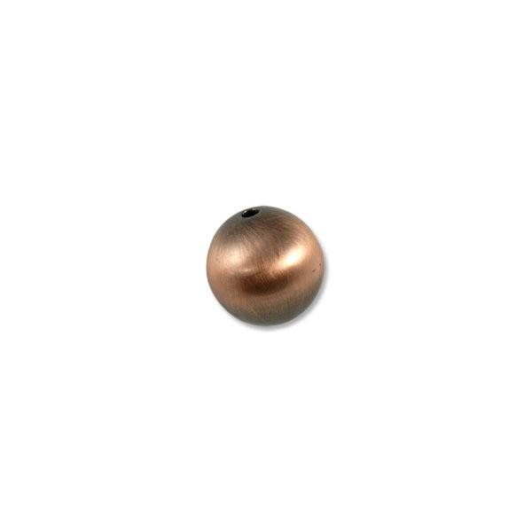 20mm Brushed Metal Satin Copper Plated Round Bead (1-Pc)