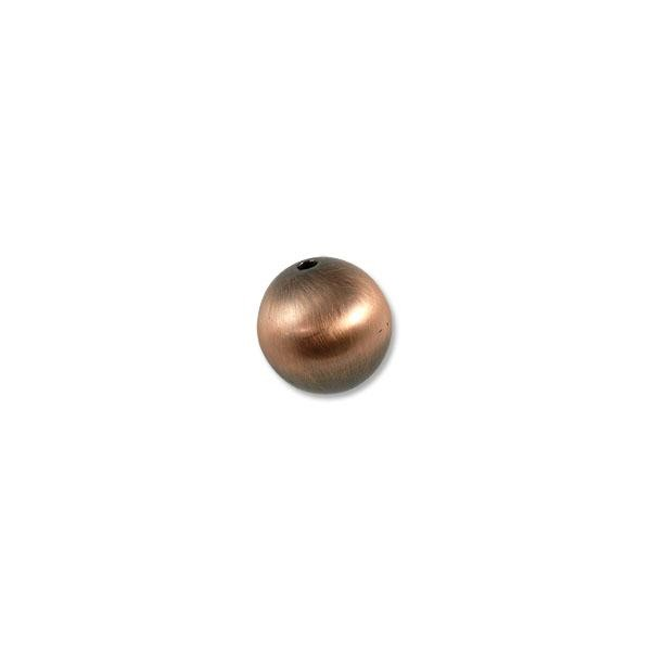 18mm Brushed Metal Satin Copper Plated Round Bead (1-Pc)