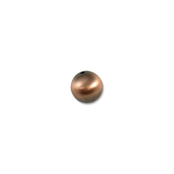 16mm Brushed Metal Satin Copper Plated Round Bead (1-Pc)