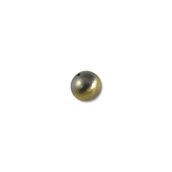 16mm Brushed Metal Satin Brass Plated Round Bead (1-Pc)
