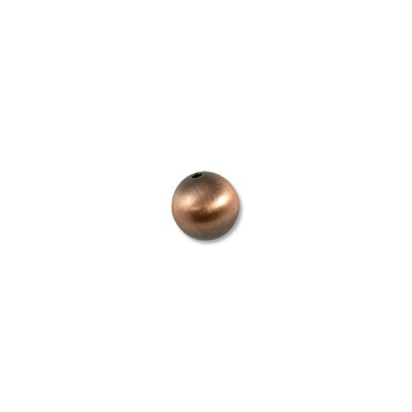 14mm Brushed Metal Satin Copper Plated Round Bead (1-Pc)
