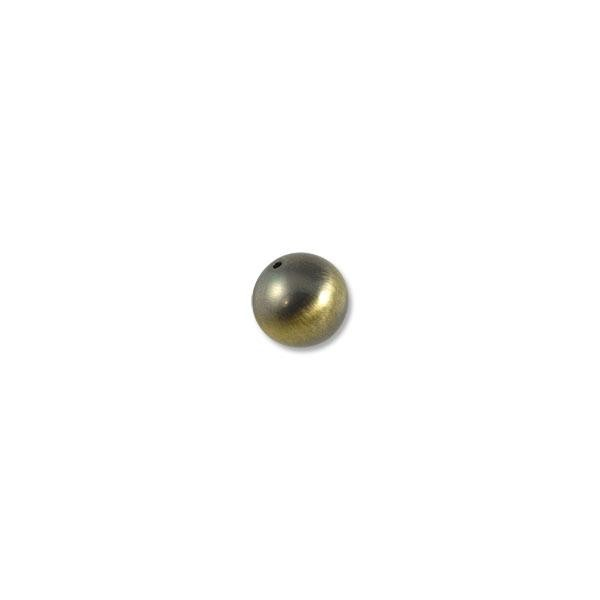 14mm Brushed Metal Satin Brass Plated Round Bead (1-Pc)