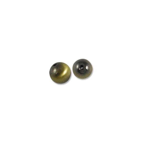 10mm Brushed Metal Satin Brass Plated Round Bead (2-Pcs)