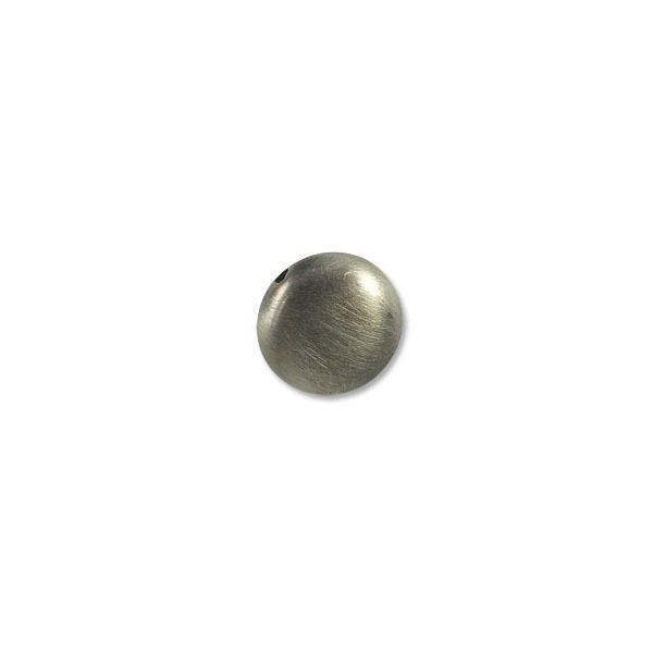17x8mm Brushed Metal Satin Sterling Silver Plated Coin Bead (1-Pc)