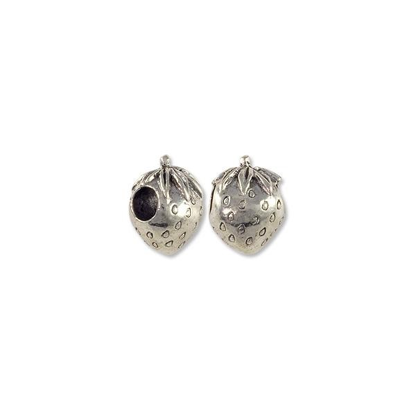 Bead Large Hole Strawberry 12x15mm Pewter Antique Silver Plated (1-Pc)