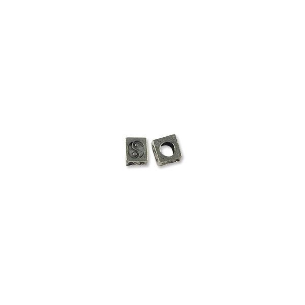 6.5mm Antique Silver Plated Pewter Square Yin Yang Bead (1-Pc)