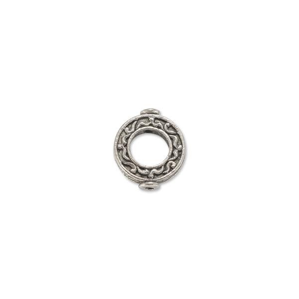Bead Frame - Round 17mm Pewter Antique Silver Plated (1-Pc)