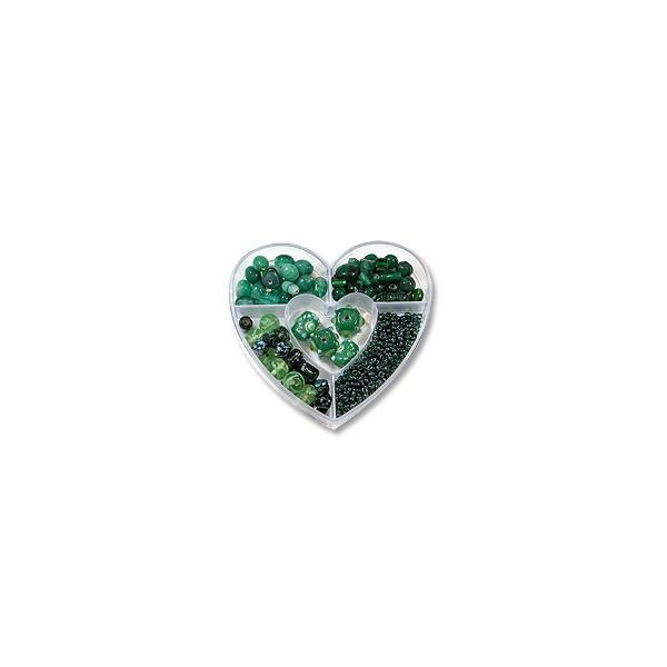 Bead Kit Heart Assorted Greens (1-Pc)