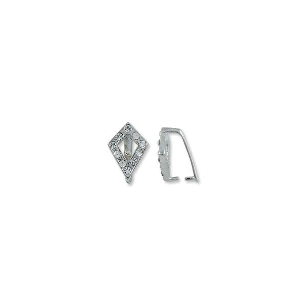 Bail - Ice Pick w/Rhinestones 16x10.5mm Silver Plated (1-Pc)