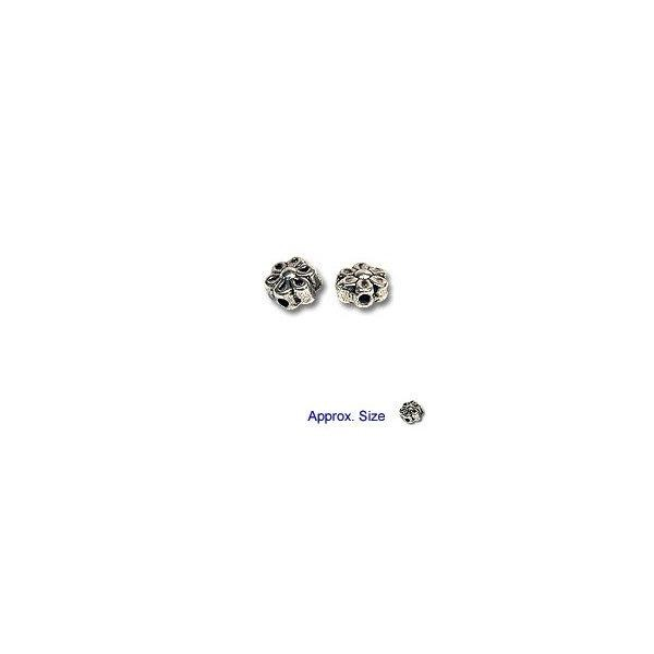 Puffed Flower Beads 6x4mm Nickel Silver (4-Pcs)