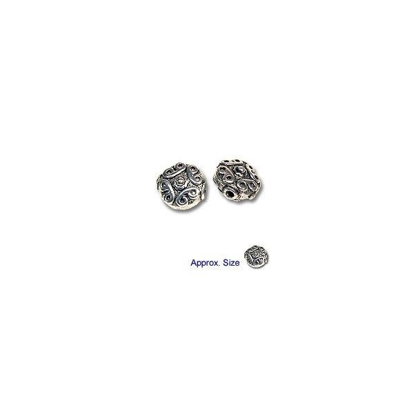 Dimensional Beads 11.5x10mm Nickel Silver (4-Pcs)