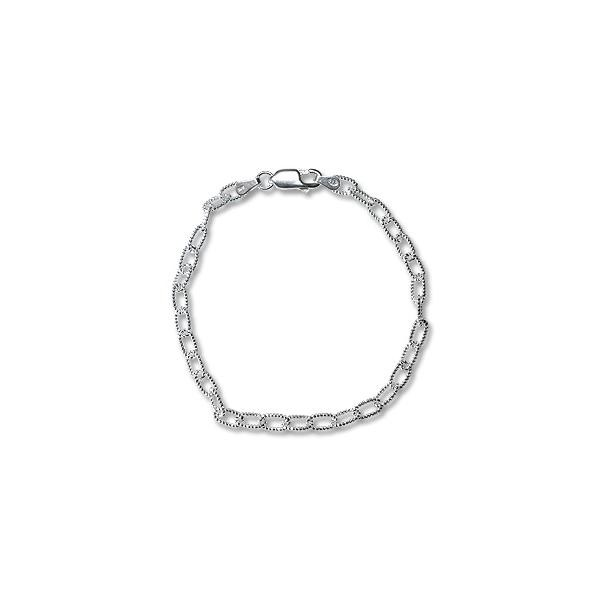 "Sterling Silver Charm Ankle Bracelet Curb Link 9.5"" (1-Pc)"