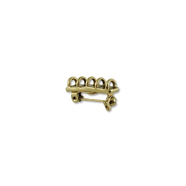 Brooch Connector - 5 Loop 23x6mm Pewter Antique Gold Plated (1-Pc)