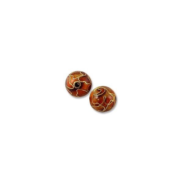 Handmade Cloisonne Bead 10mm Round Red (1-Pc)