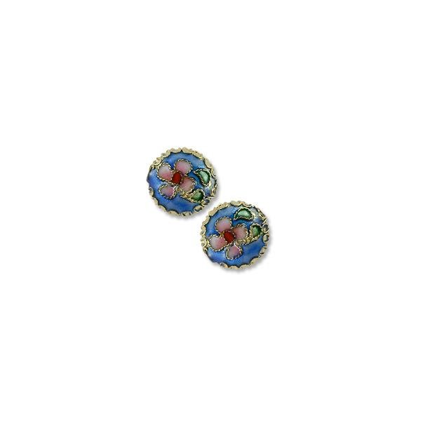 Machine Made Cloisonne Bead 14mm Round Pillow Light Blue (1-Pc)