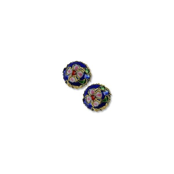 Machine Made Cloisonne Bead 14mm Round Pillow Dark Blue (1-Pc)