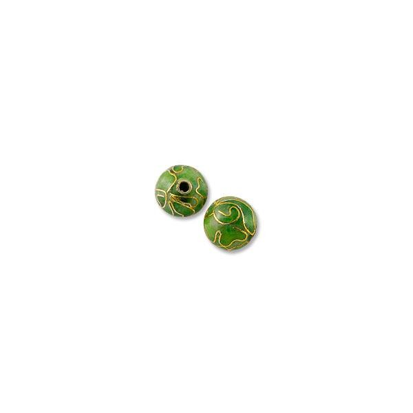 Handmade Cloisonne Bead 8mm Round Light Green (1-Pc)