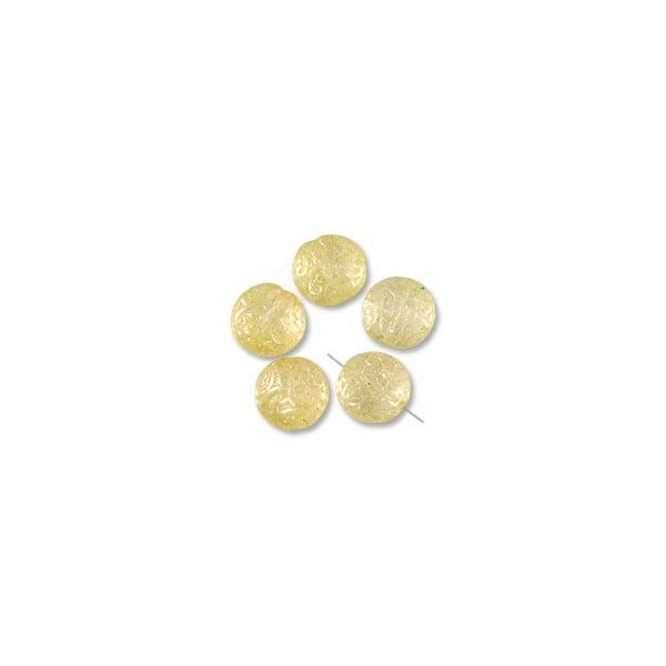 Czech Glass Button Bead 13mm Light Topaz Luster (30-Pcs)