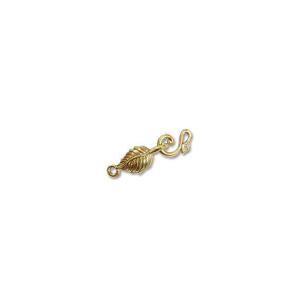 Hook & Eye Clasp - Leaf and Tendrill 28mm Pewter Gold Plated (Set)