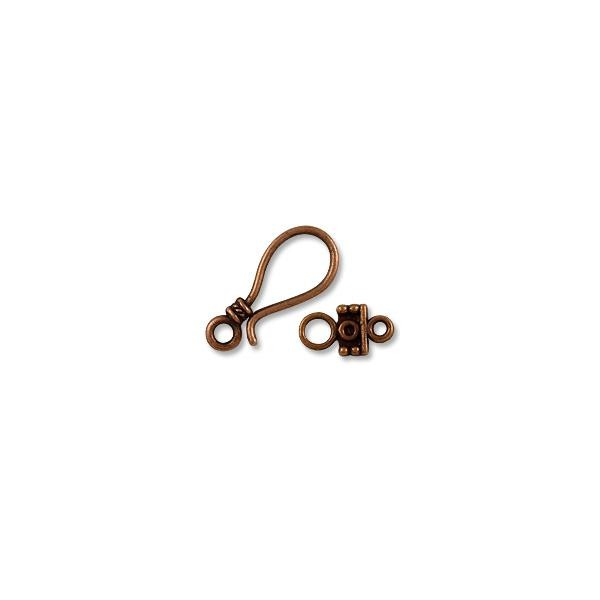 Clasp - Hook & Eye 25x11mm Base Metal Antique Copper Plated (1-Pc)