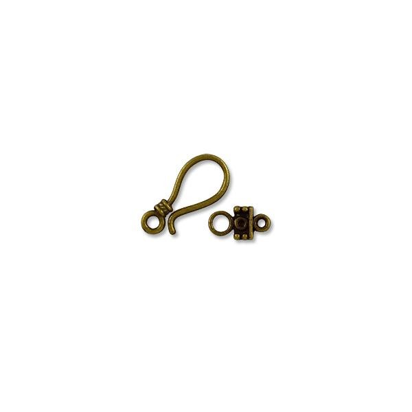 Clasp - Hook & Eye 25x11mm Base Metal Antique Brass Plated (1-Pc)