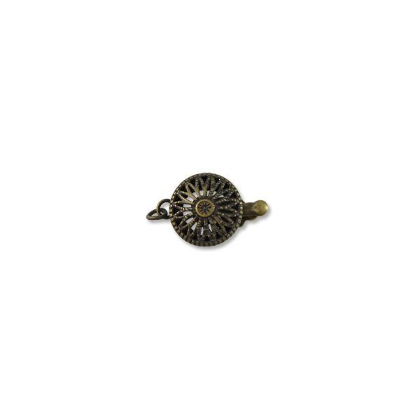 Clasp - Filigree 12mm Base Metal Antique Brass Plated (1-Pc)