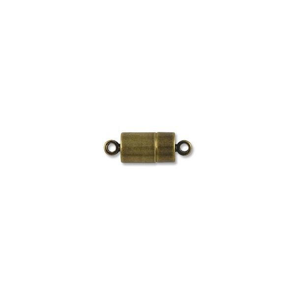 16x7mm Antique Brass Plated Magnetic Barrel Clasp (1-Pc)