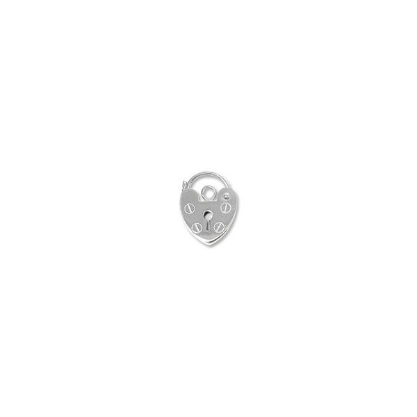 PadLock Heart Clasp 13.5x10mm Sterling Silver (1-Pc)