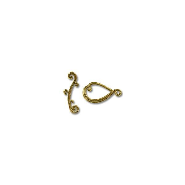 Toggle Clasp - Teardrop 22x21mm Pewter Antique Gold Plated (Set)