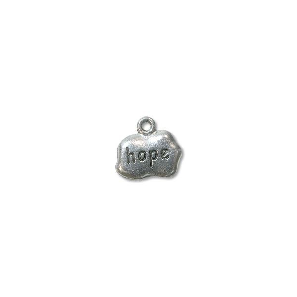 Charm - Hope 9x12mm Pewter Antique Silver Plated (1-Pc)