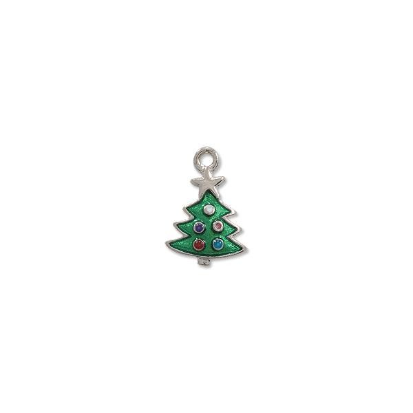 Charm - Christmas Tree Charm 16x13mm Pewter Hand Painted (1-Pc)