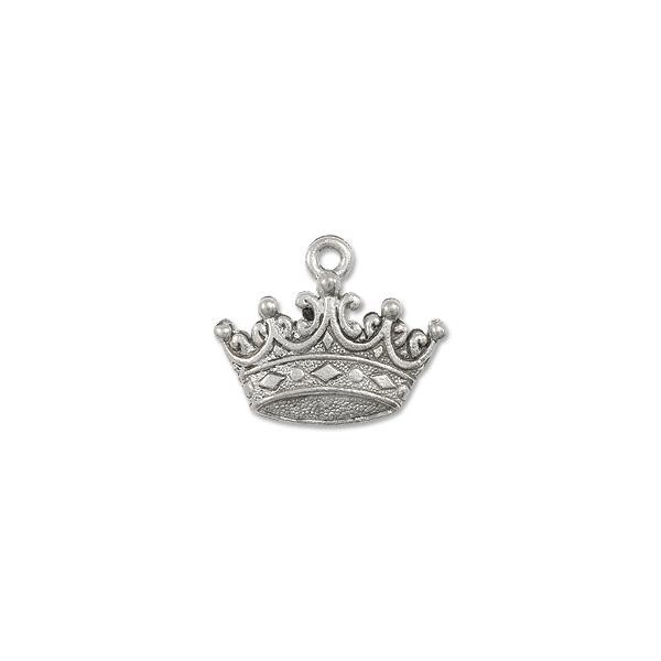 Charm - Crown 12x19mm Pewter Antique Silver Plated (1-Pc)