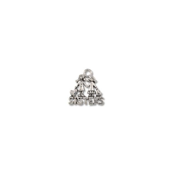 Sisters Charm 15x16mm Pewter Antique Silver Plated (1-Pc)