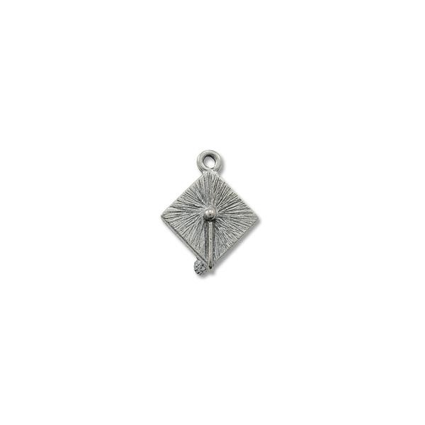 Graduation Cap Charm 18x17mm Pewter Antique Silver Plated (1-Pc)