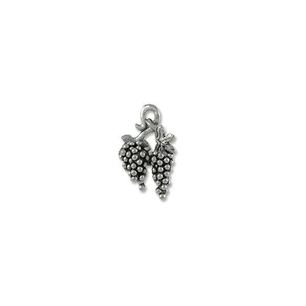 Grape Bunch Charm 17x12mm Pewter Antique Silver Plated (1-Pc)