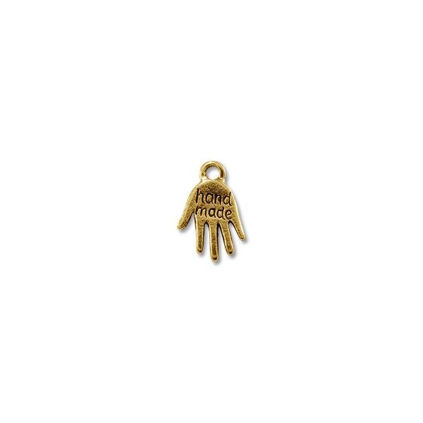 Handmade Charm 11x10mm Pewter Antique Gold Plated (1-Pc)