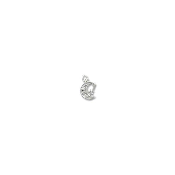 Moon & Shooting Star Charm - 15x12mm Sterling Silver (1-Pc)